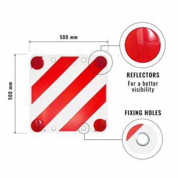 cartello in plastica con catadiottri per carico sporgente dettagli