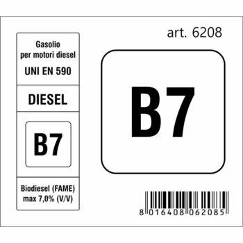 Adesivo Sigla Carburante B7 Diesel