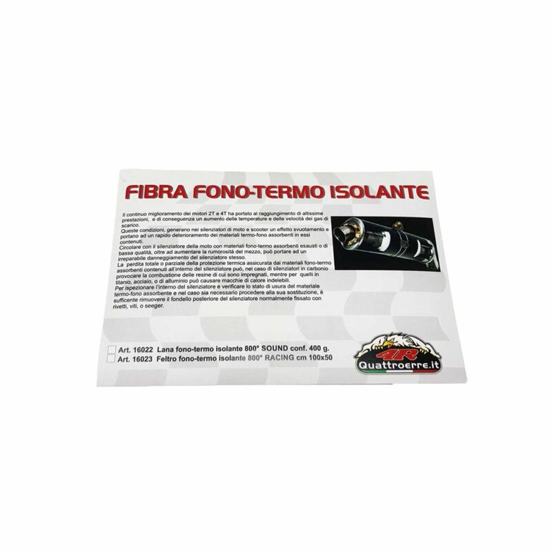 Fibra e feltro fono termo isolante 400 grammi cartoncino descrittivo