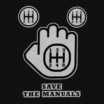 Adesivo supersagomato Save The Manuals su fondo nero
