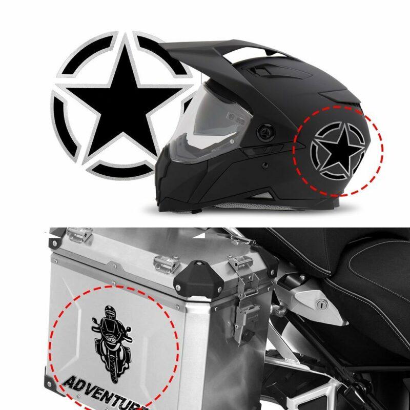Adesivo supersagomato esempio di applicazione su casco e bauletto