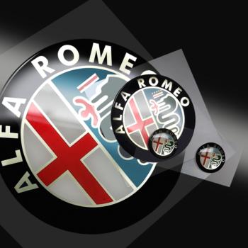 Adesivo 3D Alfa Romeo loghi old dettaglio