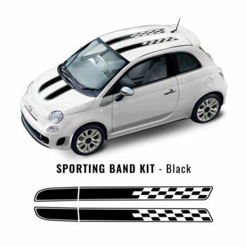 Kit carrozzeria 500 fascia scacchi tetto e cofano nero