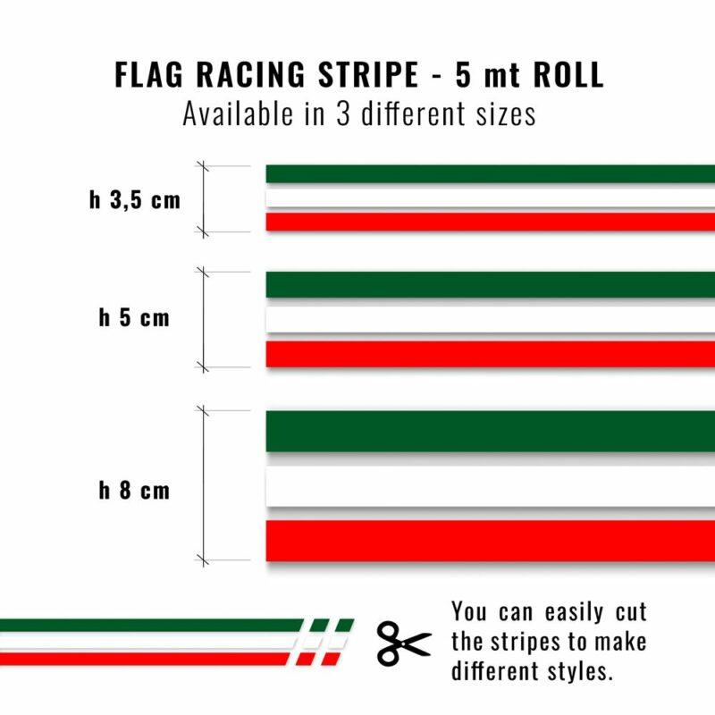 Strisce adesive per auto tricolore Italia dimensioni