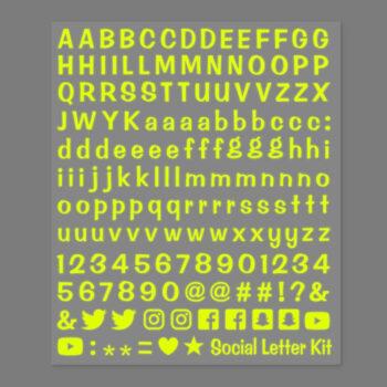 letterkit social giallo fluo