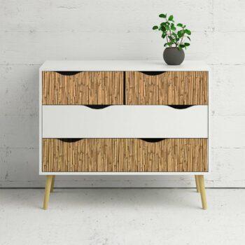 pelllicola adesiva effetto bamboo esempio aplicazione su mobili