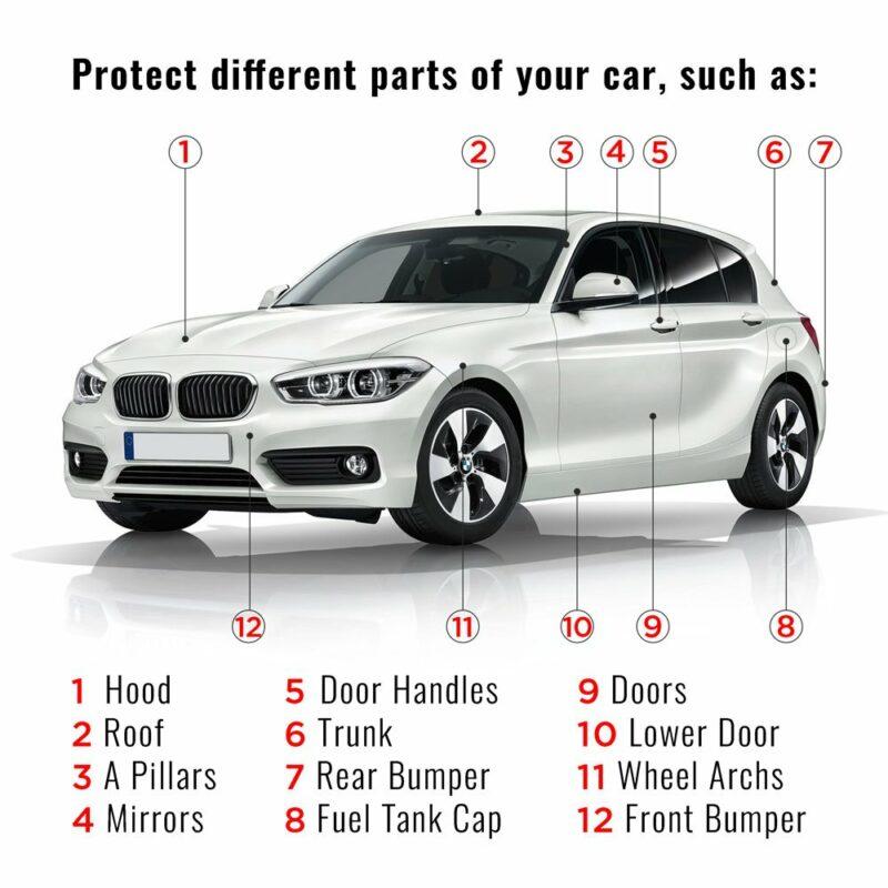 pelliocola adesiva scudo per carrozzeria auto punti di utilizzo sulla carrozzeria