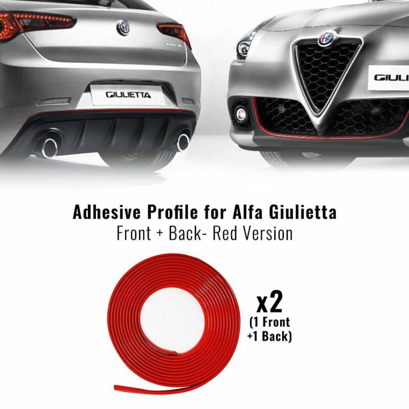 Profilo adesivo per paraurti anteriore e posteriore giulietta, rosso