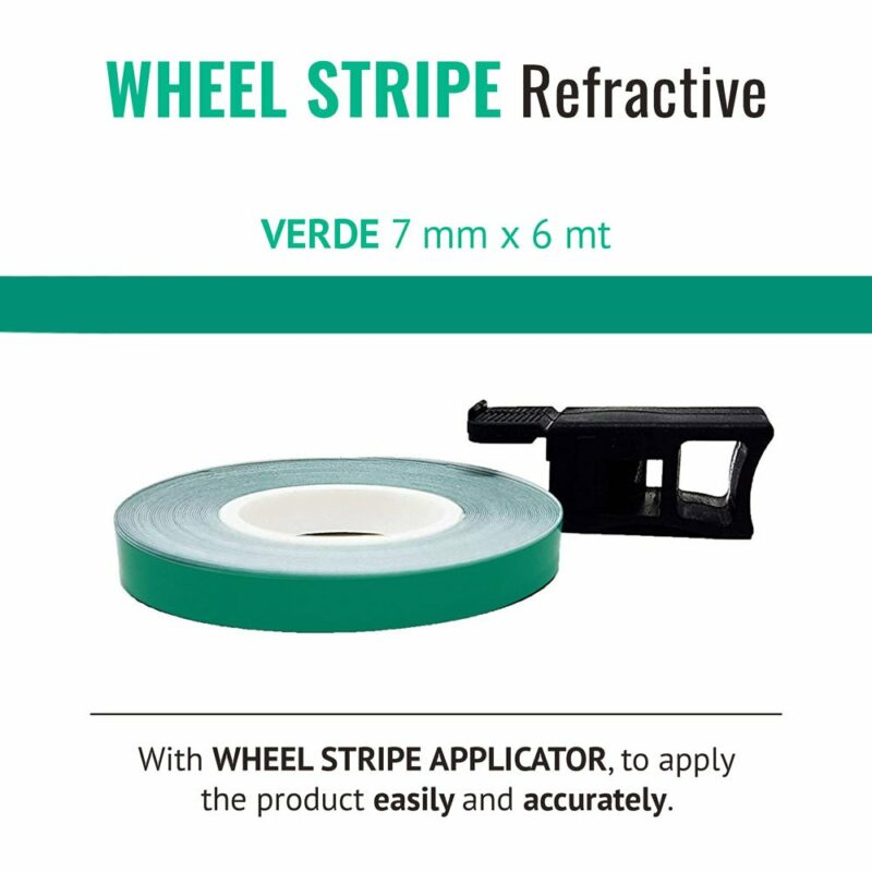 Wheel Stripe Rifrangente 7 mm con Applicatore Verde