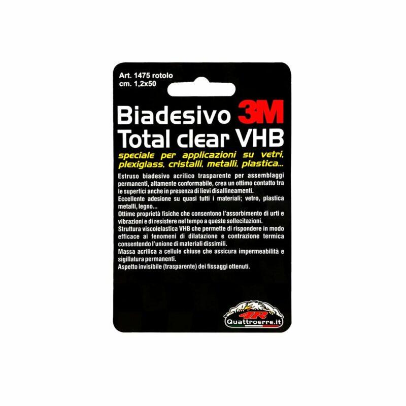 Biadesivo 3M Total Clear VHB 1,2 x 50 cm cartoncino posteriore