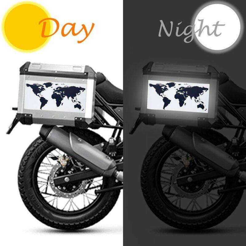 Adesivo Rifrangente per Bauletti Moto Mondo 30 x 15 cm applicazione