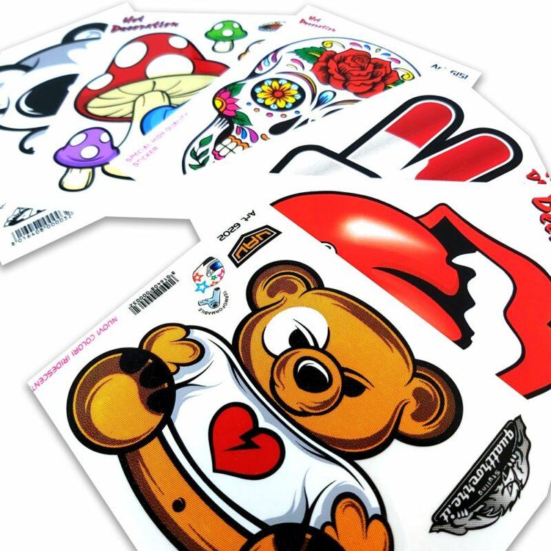Adesivi Stickers Standard 10 x 12 cm Esempio di Gamma Prodotto
