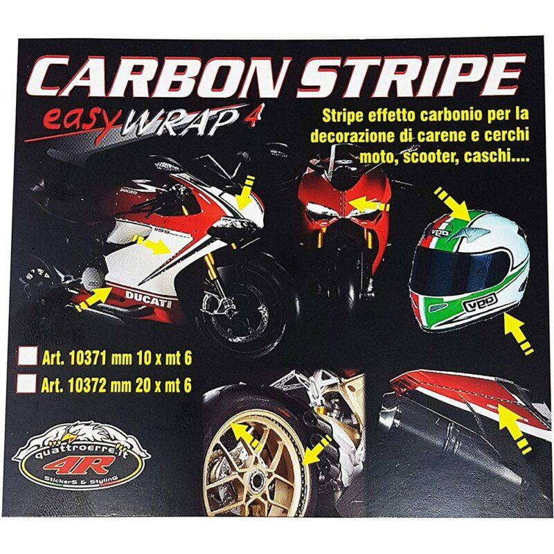Stripes Strisce Adesive per Auto Carbonio 10 mm x 6 mt artoncino