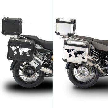 Adesivi Adventure Stickers per Bauletti Moto Mondo applicazione
