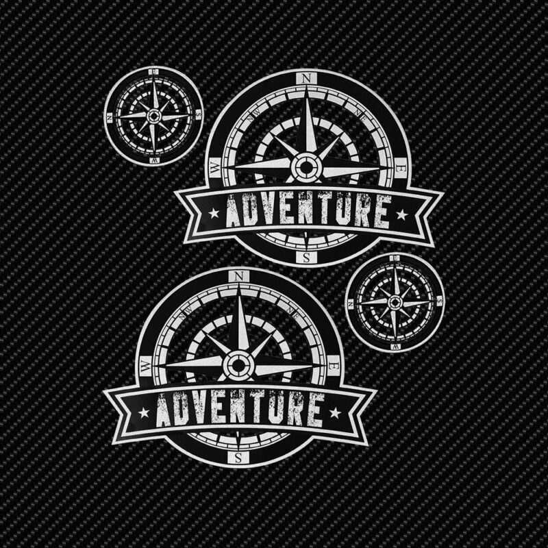 Adesivi Adventure Stickers per Bauletti Moto Rosa dei Venti 2 sfondo nero
