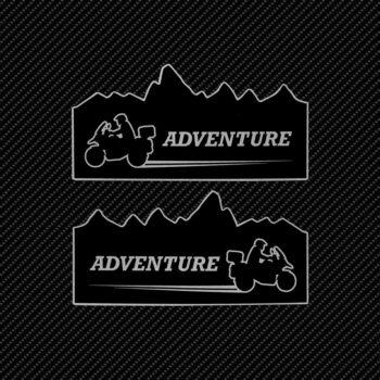 Adesivi Adventure Stickers per Bauletti Moto Adventure Mountain sfondo nero