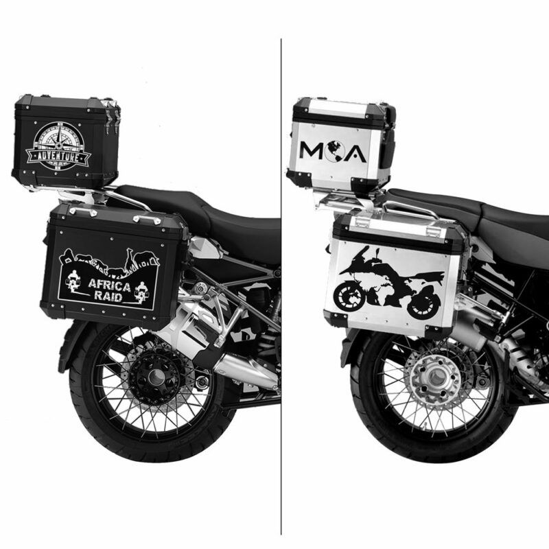 Adesivi Adventure Stickers per Bauletti Moto applicazione
