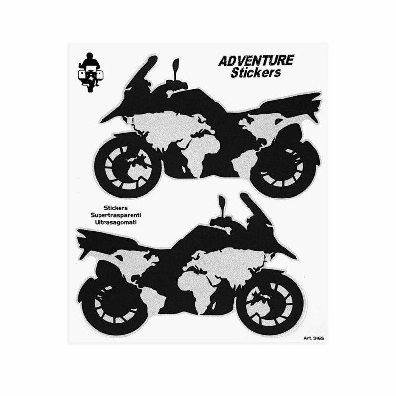 Adesivi Adventure Stickers per Bauletti Moto Planisfero Moto