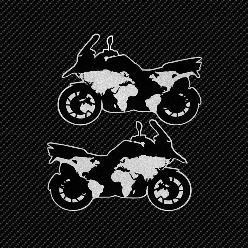 Adesivi Adventure Stickers per Bauletti Moto Planisfero Moto su sfondo nero