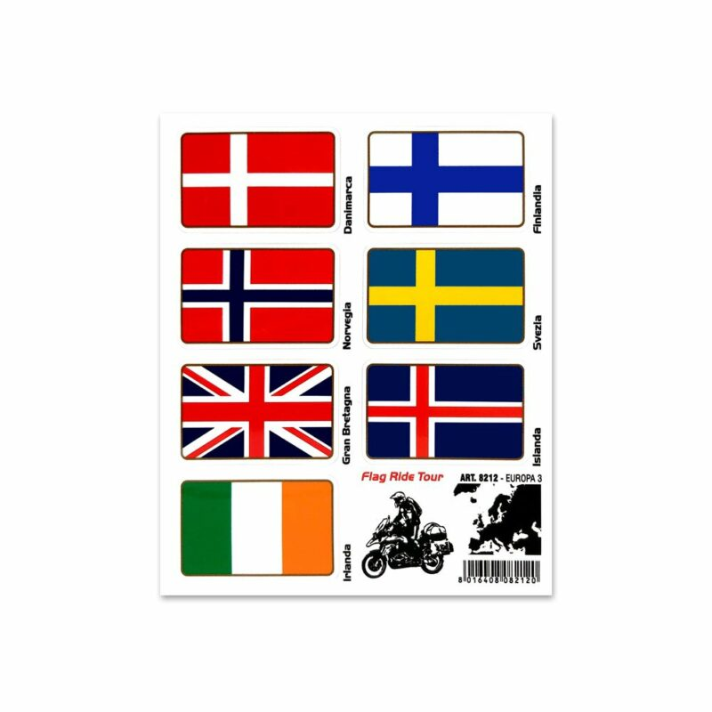 Adesivi Bandiere Flag Ride Tour per Bauletti Moto europa 3