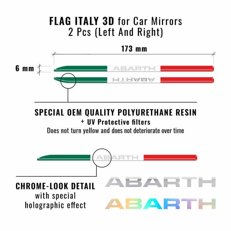 Bandierine adesive olografiche tricolore Italia dimensioni e dettagli