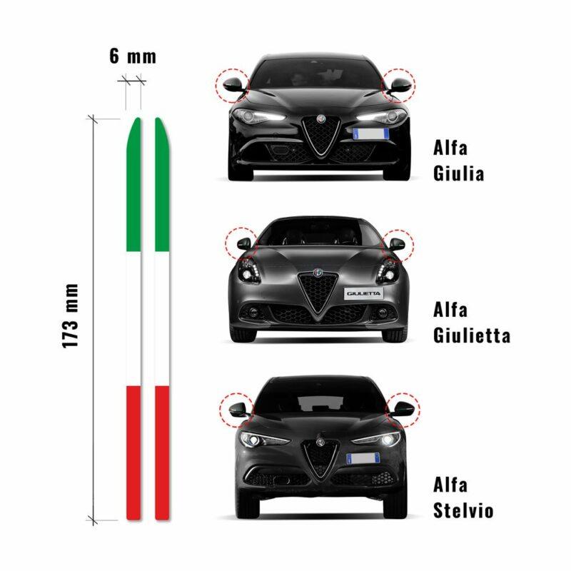 Bandierine adesive tricolore Italia misure e modelli