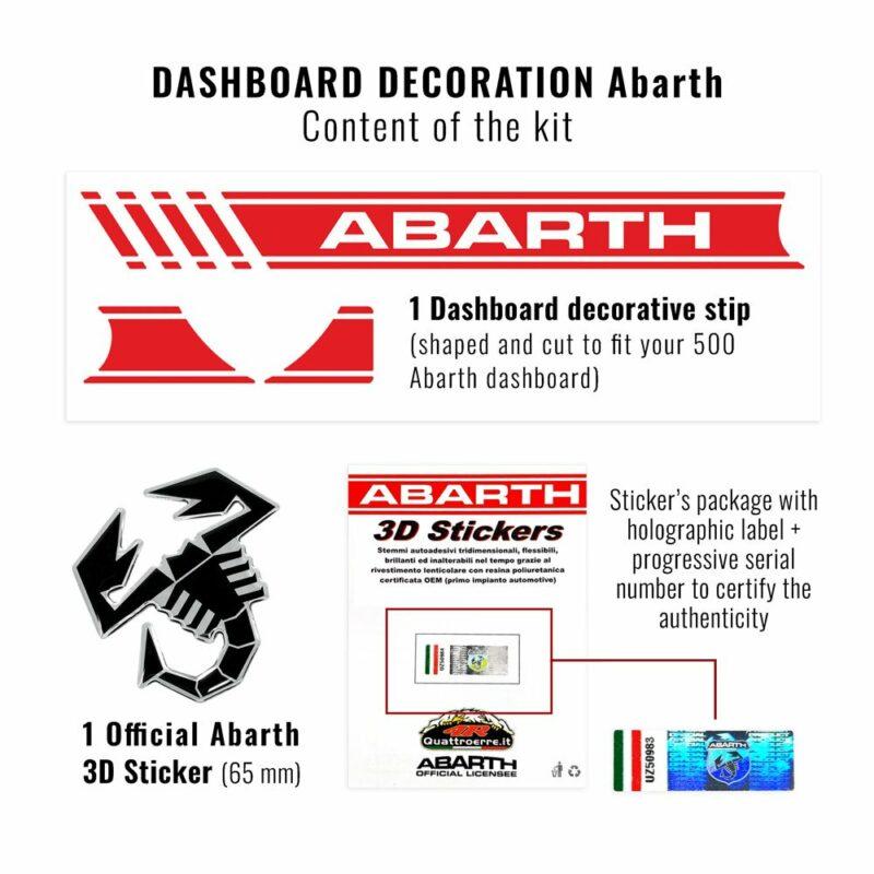 kit cruscotto abarth striscia adesiva e 3d scorpione, contenuto del kit