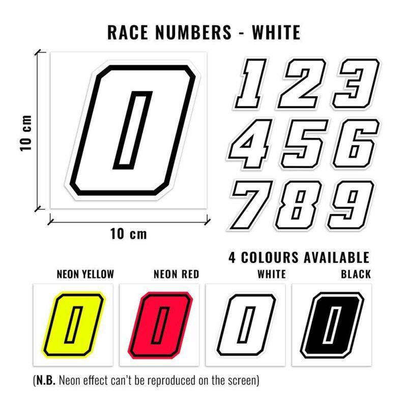 Numeri Race Moto GP bianco dimensioni e varianti cromatiche
