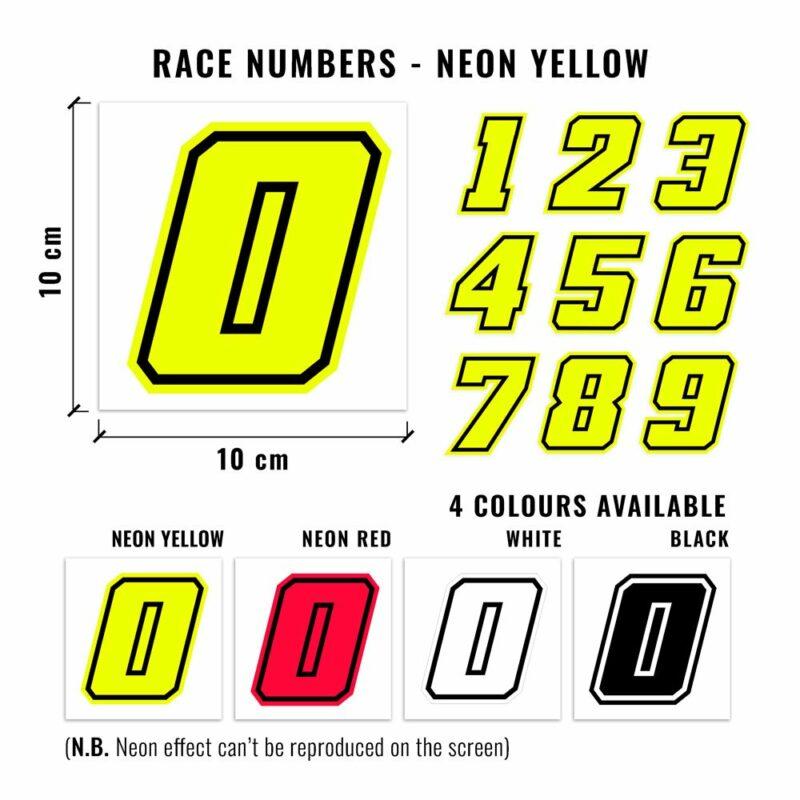 Numeri Race Moto GP giallo fluo dimensioni e varianti cromatiche