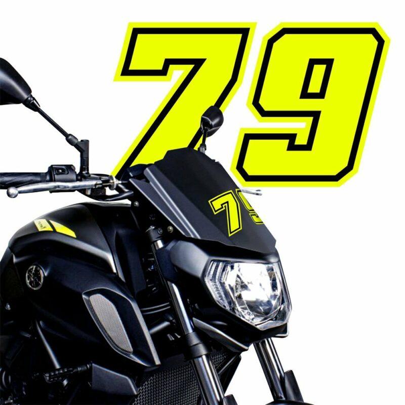 Numeri Race Moto GP giallo fluo esempio applicazione