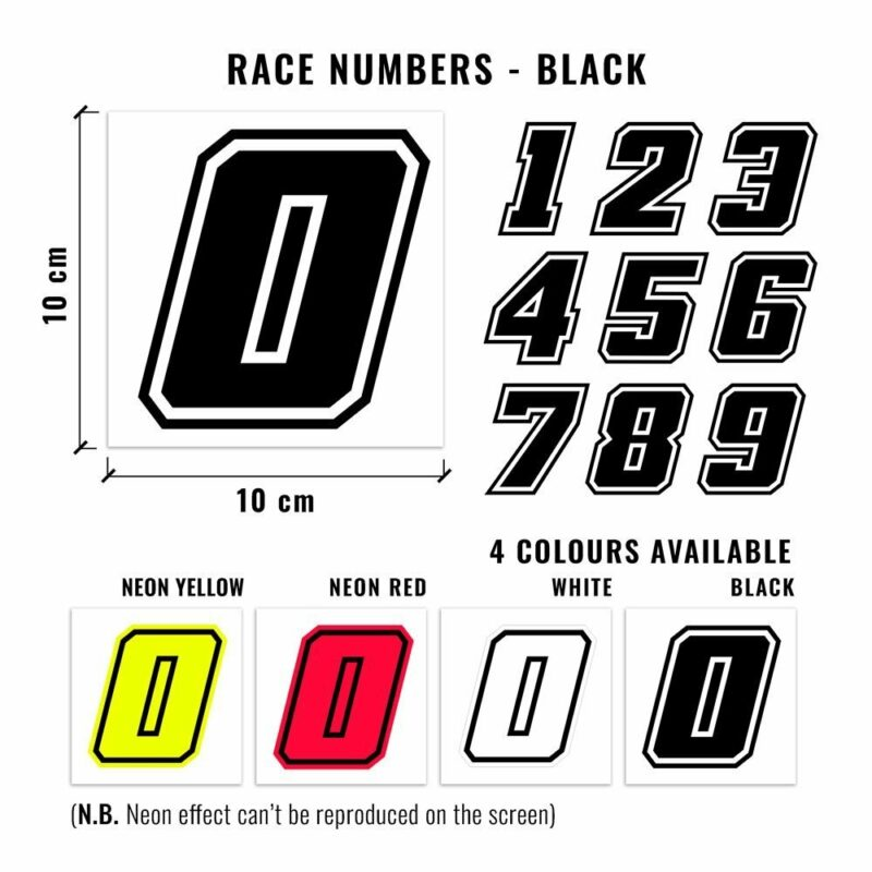 Numeri Race Moto GP nero dimensioni e varianti cromatiche