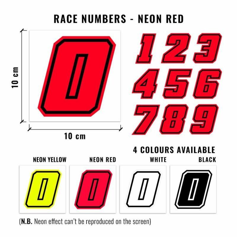 Numeri Race Moto GP rosso fluo dimensioni e varianti cromatiche