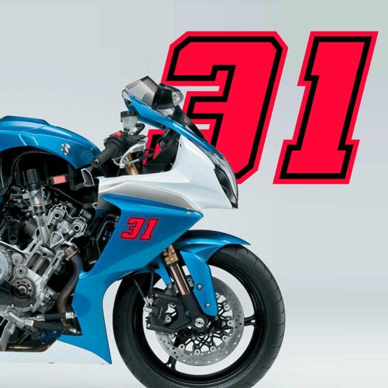 Numeri Race Moto GP rosso fluo esempio applicazione