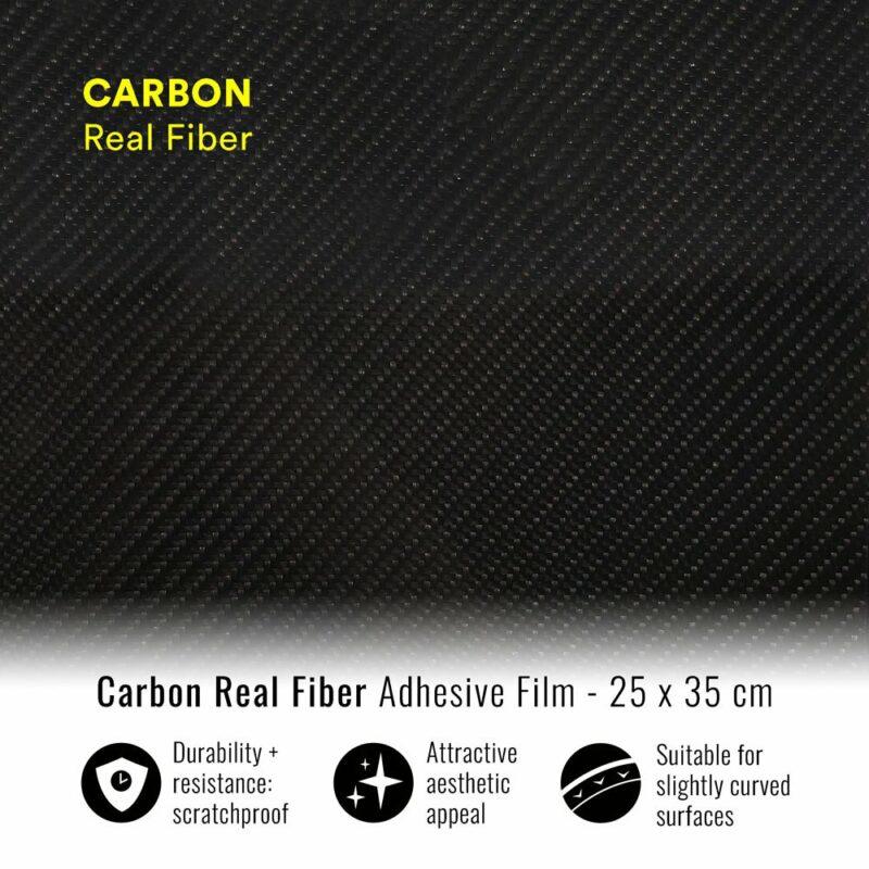 pellicola adesiva per wrapping carbonio vera fibra 25x35