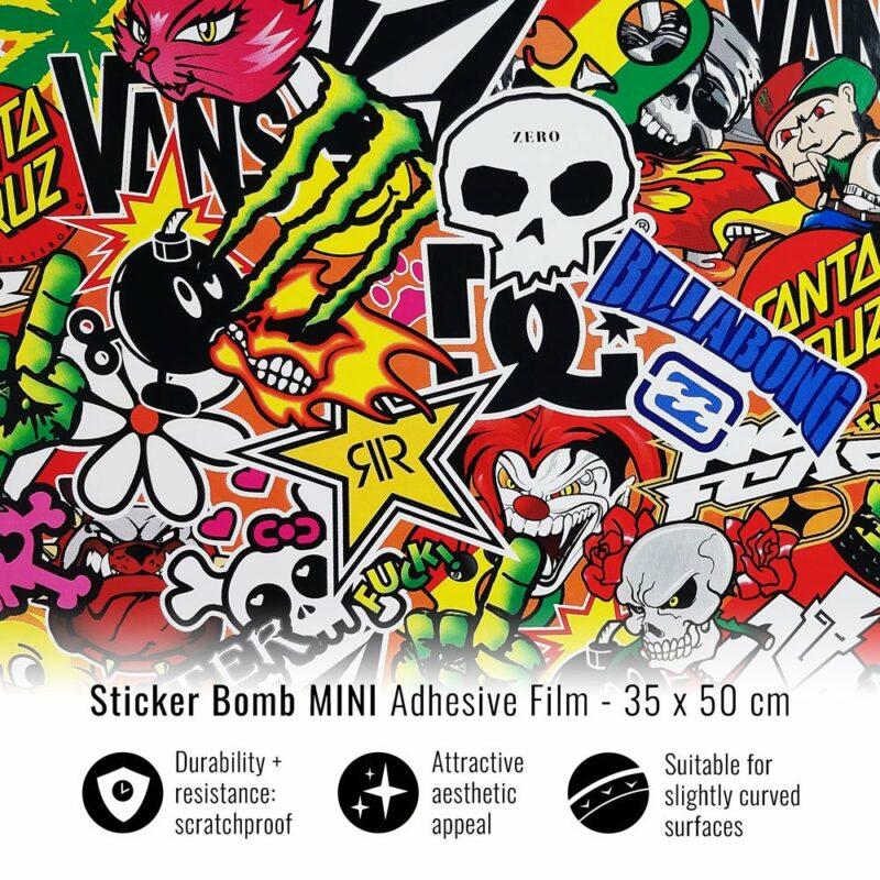pellicola adesiva per wrapping sticker bomb mini 35x50