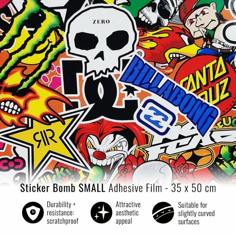 pellicola adesiva per wrapping sticker bomb small 35x50