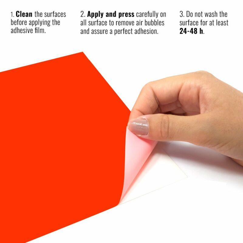 Pellicola adesiva rosso fluo istruzioni
