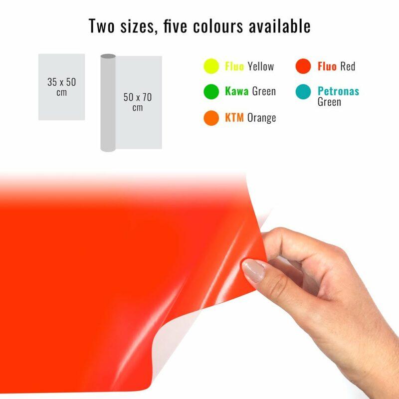 Pellicola adesiva rosso fluo dimensioni e colori