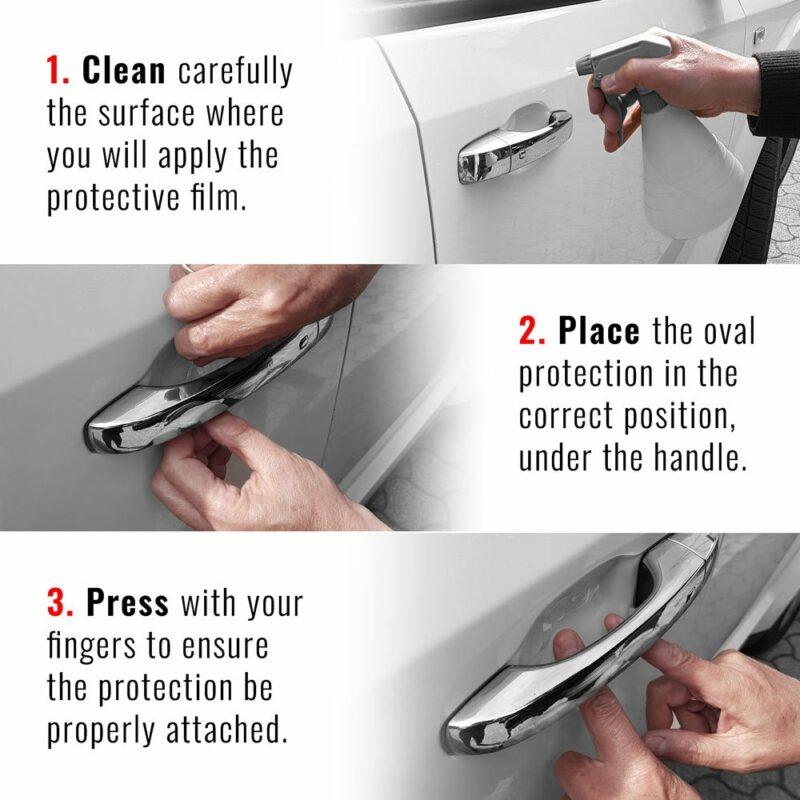 Kit Protezioni Adesive per sotto Maniglie Auto, Metodo di applicazione