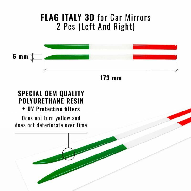 Bandierina 3D tricolore Italia per specchietti dimensioni e dettaglio