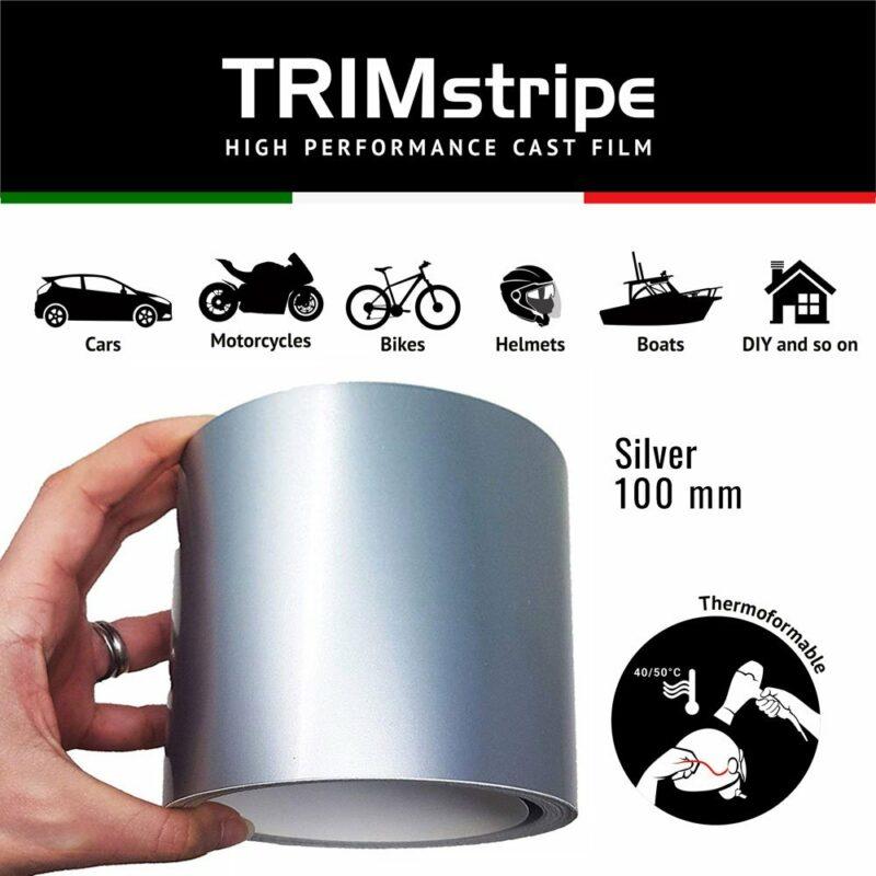 Trim Stripe Strisce Adesive per Auto, Argento, 100 mm