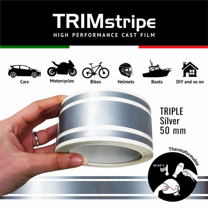 Trim Stripe Strisce Adesive per Auto, 3 Fili, Argento 50 mm