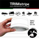 Trim Stripe Strisce Adesive per Auto, 3 Fili, Bianco 50 mm