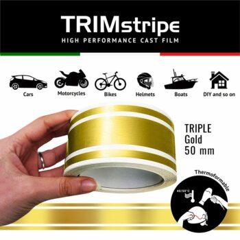 Trim Stripe Strisce Adesive per Auto, 3 Fili, Oro 50 mm