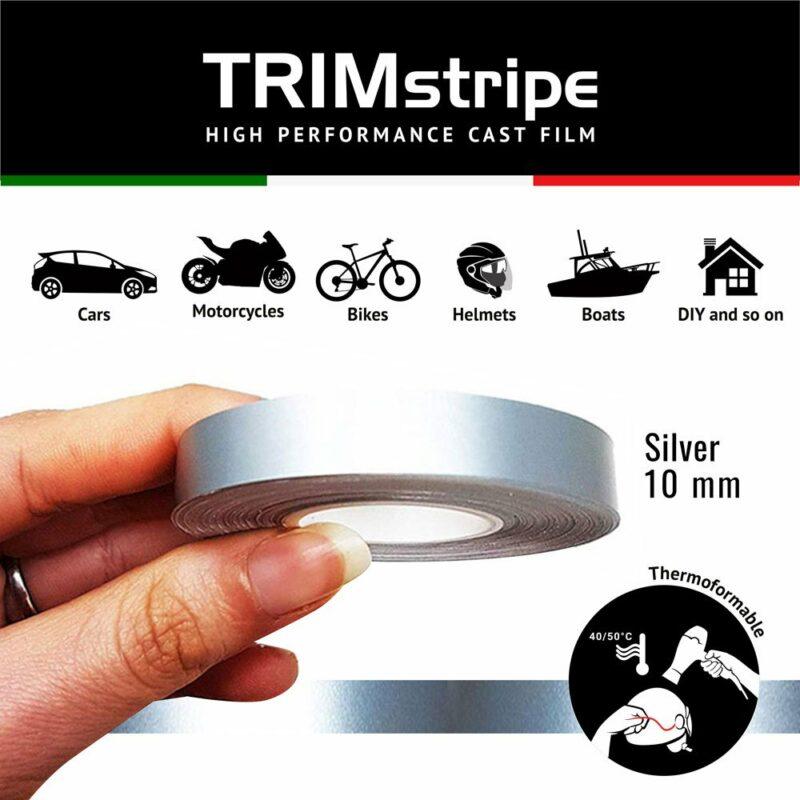 Trim Stripe Strisce Adesive per Auto, Argento 10 mm