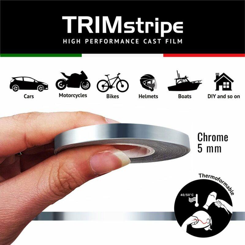 Trim Stripe Strisce Adesive per Auto, Cromo 5 mm