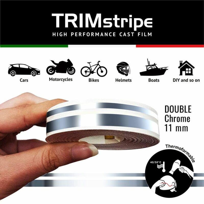 Trim Stripe Strisce Adesive per Auto, 2 Fili, Cromo