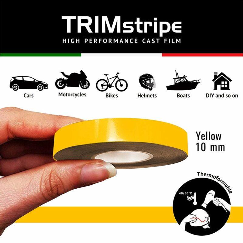 Trim Stripe Strisce Adesive per Auto, Giallo 10 mm