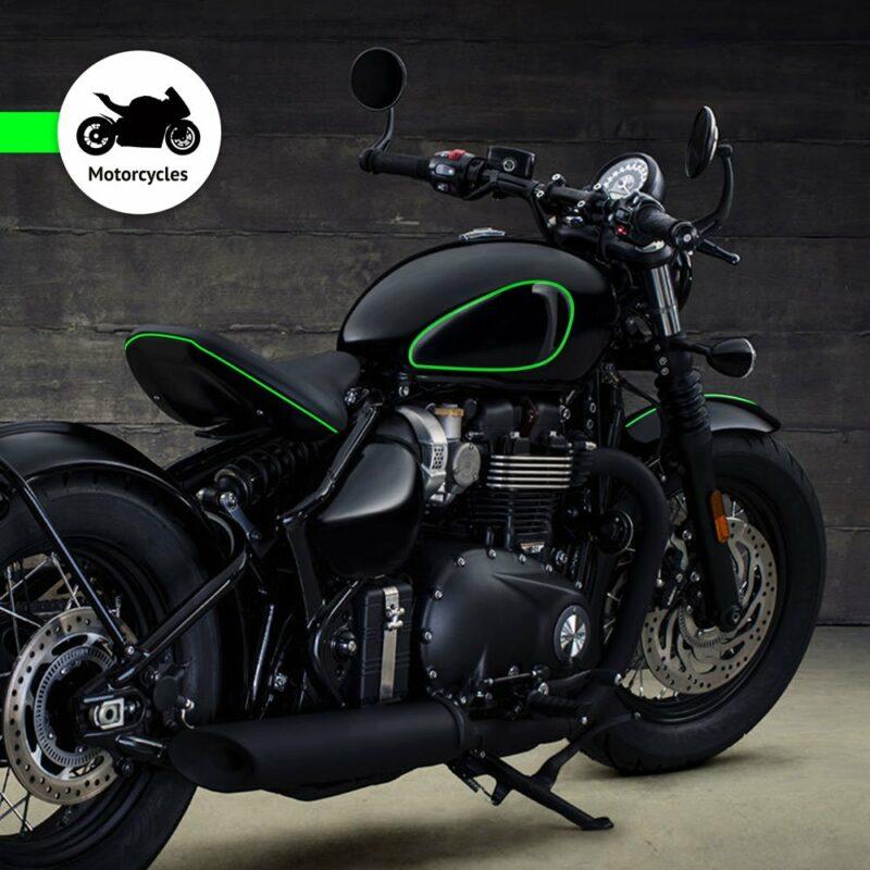 Trim Stripe Strisce Adesive per Auto, Verde Fluo Applicazione Moto