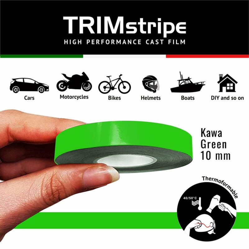 Trim Stripe Strisce Adesive per Auto, Verde Kawa 10 mm